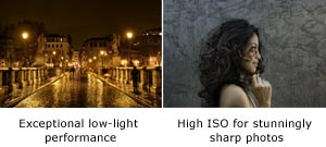 high ISO and advanced image processing engine deliver exceptional low-light performance and stunningly sharp photos
