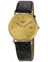 Longines La Grande Classique Gold Dial Black Leather Mens Watch 47202322