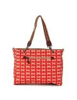Pink Lining Bramley Tote Cream Bows, Red