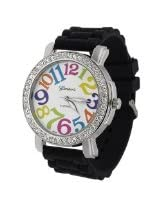Geneva Womens Platnium Large Round Face Silicone Watch