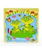 Infant Toddler Baby Creative Multi-layer Wooden Puzzle Toys Development Gift (Frog)