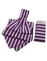 Lilac-Deep With Pruple Candy Strip Cravats With Pocket Square