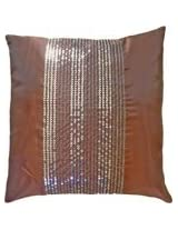Decorative Brown Transparent Sequins Stripes Throw Pillow COVER 18 Brown
