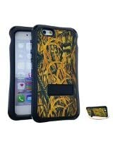 Cell Armor Faceplate for iPhone 6 Plus - Retail Packaging -  Green Leaves Snap/Black Skin