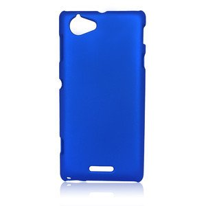 Dark Blue Hybrid Rubberized Hard Back Case Cover Pouch Sony Xperia L S36H C2105