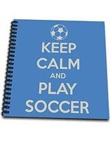 3dRose db_159643_1 Keep Clam and Play Soccer Blue Soccer Lovers Drawing Book, 8 by 8-Inch