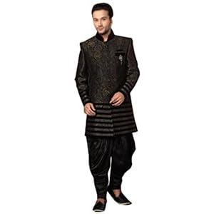 Charcoal Black Banarasi Art Silk Readymade Sherwani with Patiala