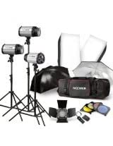 NEEWER 750W Professional Photographic Studio Strobe Flash Light Kit - Barn Door, Soft Box, Umbrellas, Stands, Lamps, Trigger & More