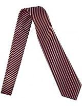 Outer Rebel Fashion Tie- Black & Pink Thin Diagonal Stripe