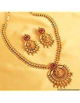 Classy Kempu Stone Temple Jewellery Necklace Set