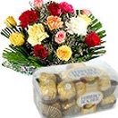 Mixed Flowers Bouquet with Ferrero Rocher Chocolate