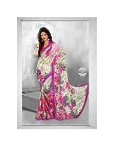 Designer party wear Chiffon border work saree sari
