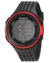Armitron Men''s 40/8269RED Large Red Accented Black Resin Strap Chronograph Watch