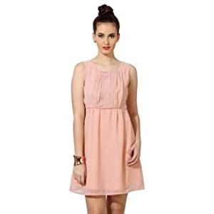Polka Dotted Short Sleeveless Dress for Women