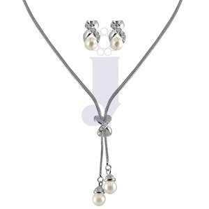 Trendy Fashionable CZ Knot Pearl Set Accessory - Classic White Color