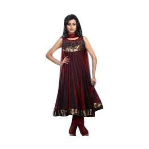 Rich Maroon Net Anarkali Style Kameez with Churidar and Dupatta