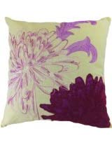 Decorative Flower Emboirdery & Applique Floral Throw Pillow Cover 18 Purple