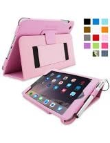 iPad Mini 3 Case, Snugg - Smart Cover with Kick Stand & Lifetime Guarantee (Candy PInk Leather) for Apple iPad Mini 3 (2014)