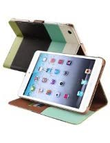 eForCity Wallet Leather Case for Apple iPad mini, Blue/Black/Green (PAPPIPDMLC73)