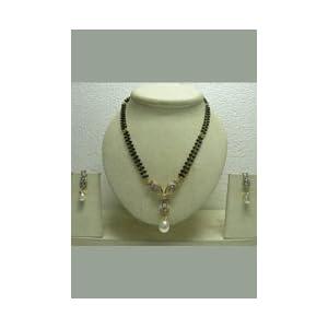 White American Diamond Studded Mangalsutra Set