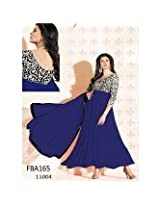 Heena Fashion Susmita Sen Royal Blue Cotton Anarkali Suit