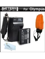 Battery And Charger Kit Bundle For Olympus TOUGH TG-1 iHS TG-1iHS TG 1 iHS TG-2 iHS TG-2iHS Waterproof Digital Camera Includes Extended Replacement (1500Mah) LI-90B Battery + Ac/Dc Rapid Travel Charger + Floating Strap + MicroFiber Cloth