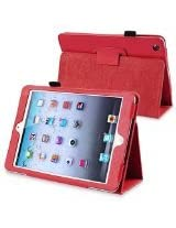 eForCity Leather Case with Stand for Apple iPad mini, Red (PAPPIPDMLC35)