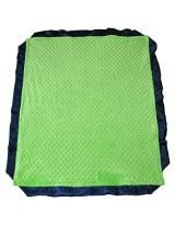"Cozy Wozy Minky Dot Baby Blanket With Luxurious Satin Trim, Lime Green/navy Blue, 32"" X 38"""