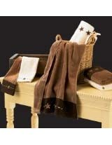 HiEnd Accents Embroidered Star Western Towel Set, Brown