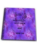 3dRose db_192931_2 Keep Calm and Sew on by Angelandspot Memory Book, 12 by 12-Inch