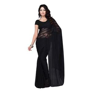 Plain Black Solid Colored Traditional Satinpatta Classic Chiffon Saree by Fabdeal