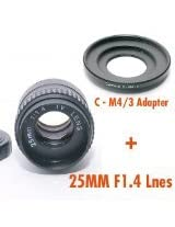 Fotasy M2514 25MM F1.4 TV Movie Lens and Lens Adapter Kit for Olympus Panasonic MFT Micro 4/3 M43 Cameras