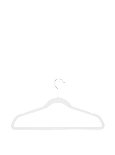 Honey-Can-Do Ultra-Thin Non-Slip Velvet-Touch Hangers, White, 20-Pack