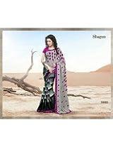 Gray georgette designer party wear sari