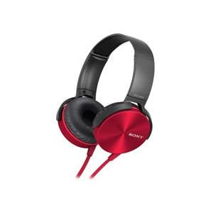 Lightweight Red Colored Sony MDR XB - 450 Model Number Foldable Extra Bass Enabled Headphones