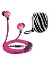 iKross In-Ear 3.5mm Noise-Isolation Stereo Earbuds with Microphone (Hot Pink / Black) Zebra Headset Case for Apple iPhone 6 Plus, 6, 5S 5C 5 Cellphone Smartphone Tablet and MP3 Player