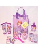 Disney Jr. Sofia the First Tote Gift Bundle 1 Tote Bag 7 Stick on Earrings 7 Rings 1 Keepsake Box 1 Lip Balm(colors Vary) 1 Pocket Tissue 1 Body Wash 1 Body Lotion 1 Hairbrush