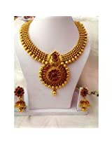 Temple jewellery necklace set kemp stones with jhumki/jumps earrings