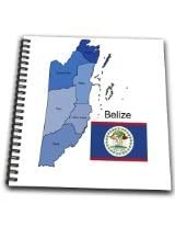 3dRose db1519301 Colorful Flag and Map of Central American Country of Belize with All Districts Named and Colored-Drawing Book, 8 by 8-Inch