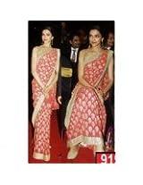 Deepika Padukone Carrot Red Saree Georgette Indian Sari - Buy Bollywood Sarees