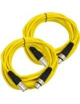 Seismic AudioSAXLX-25Yellow-2Pack Pair of Yellow 25-Feet XLR Male to Female Microphone or Patch Cable (2 Pack)