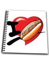 3dRose db_204533_1 I Love Hotdogs Drawing Book, 8 by 8