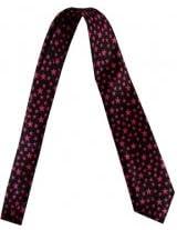 Outer Rebel Fashion Tie- Black with Small Fucshia Stars