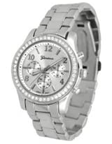 Geneva Chronograph Look with Crystals..SilverTone Metal Link