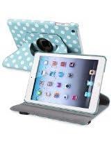 eForCity 360-Degree Swivel Leather Case for Apple iPad mini, Blue/White Polka Dot (PAPPIPDMLC58)