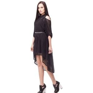 KOOVS Cold Shoulder High Low Black Dress