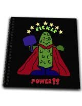 3dRose db_200108_1 Funny Pickle Ball Super Hero Cartoon Pickle-Drawing Book, 8 by 8-Inch