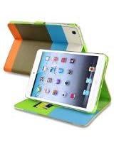 eForCity Wallet Leather Case for Apple iPad mini, Blue/Khaki/Orange (PAPPIPDMLC75)