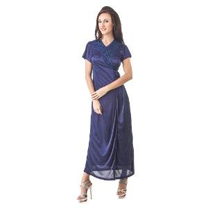 Fasense Women's Robe, Long Nighty, Top, Pajamas, Bra and Panty Nightwear Set - Navy Blue