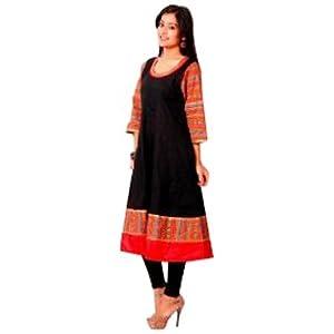 Inara Robes Women's Black & Red Anarkali Kurta